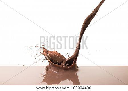 splashing hot chocolate, isolated on white background
