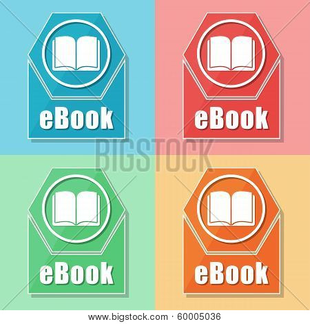 Ebook And Book Sign, Four Colors Web Icons