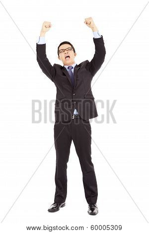 Happy Businessman Raised Up And Shout Loudly