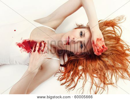 young women with blood on her body