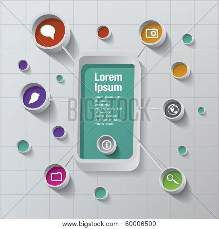 Vector smart phone with icons