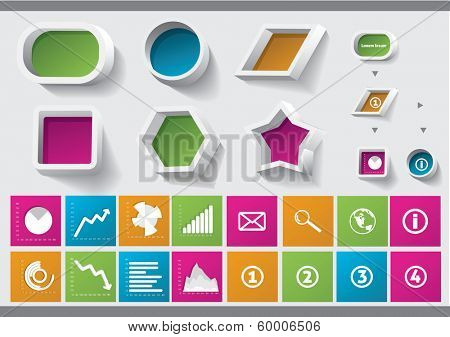 Info blocks with icons. Can be used for infographics