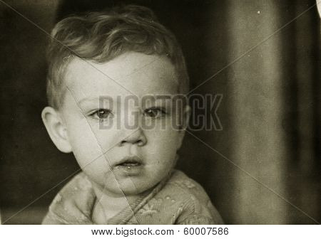 KURSK, USSR - CIRCA 1972: An antique photo shows portrait of a little boy