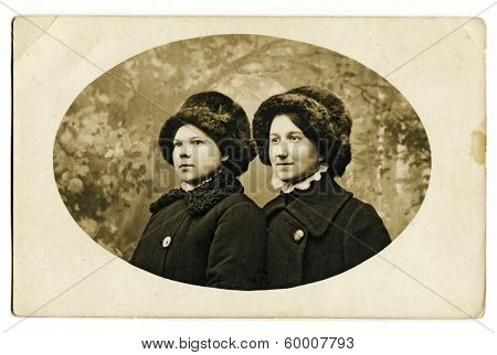 MOSCOW, RUSSIA - CIRCA 1914: An antique photo shows studio portrait of a two womans.