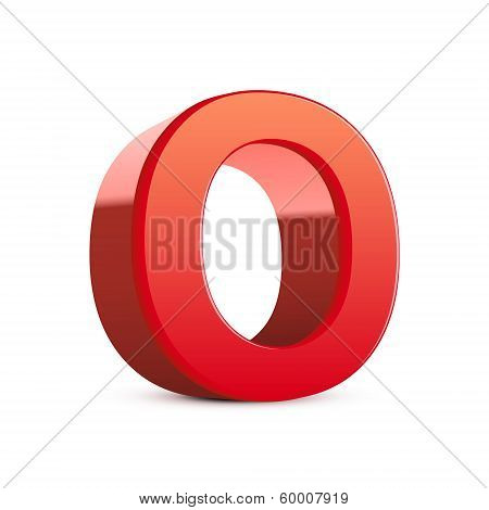 3D Red Letter O