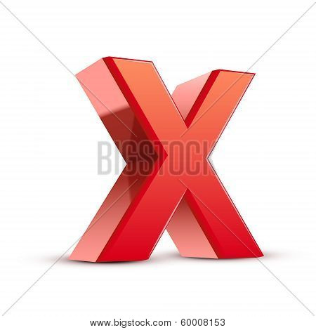3D Red Letter X
