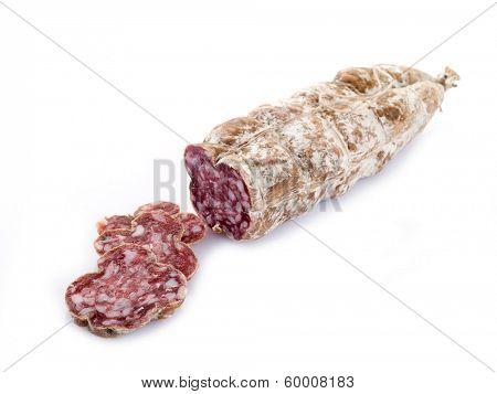 sliced  salami on white