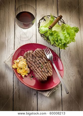 grilled tenderloin with slice ovum mushroom