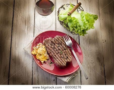 grilled tenderloin with slice ovum mushroom
