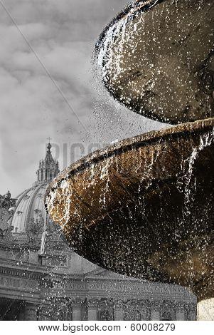 Bernini's Fountain At St Peter Square In Rome
