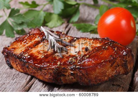 Juicy Grilled Meat With Rosemary And Tomatoes