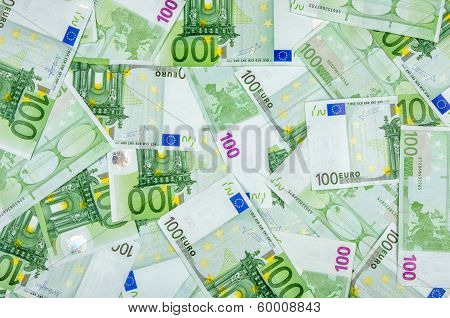 A topview shot of one hundred euro bills