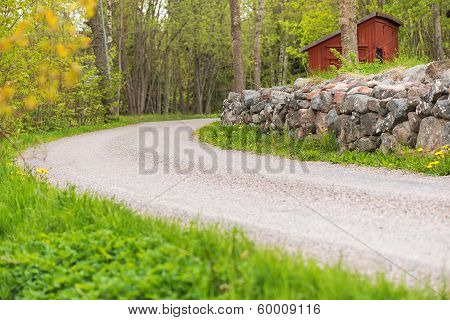 Countryroad With A Stonewall, Sweden
