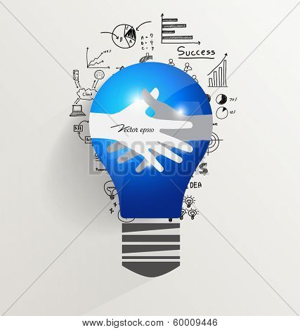 Light bulb with Handshake, drawing chart and graphs business idea, vector illustration