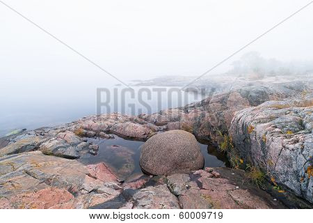 Foggy Morning At Coastline During Late Summer