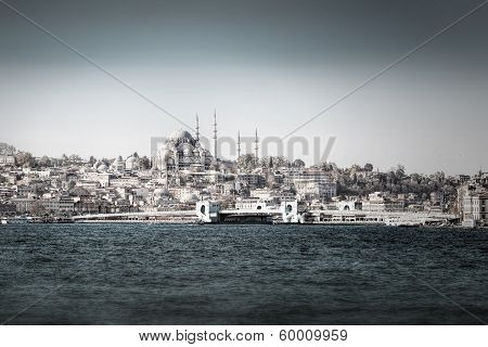 Galata Bridge From The Bosphorus In Desaturated Style