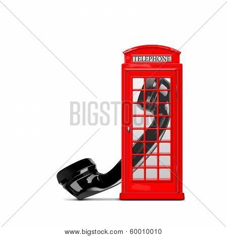 Red telephone box with the handset
