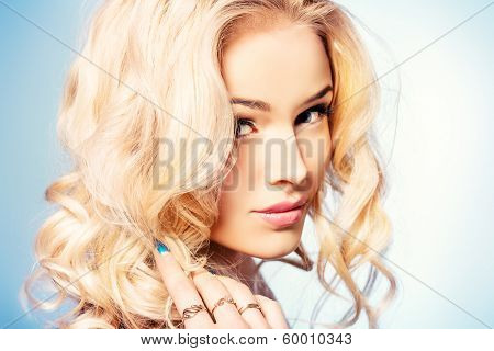 Portrait of a happy beautiful blonde woman smiling at camera. Body care. Spa.