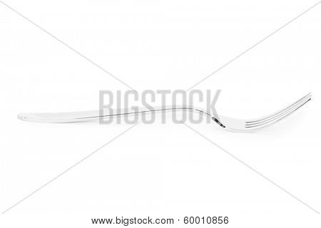 Silver fork on white background