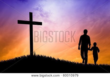 Father And Son Praying Under The Cross