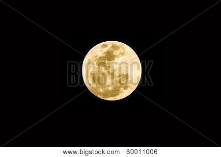 Full Moon On The Black Background