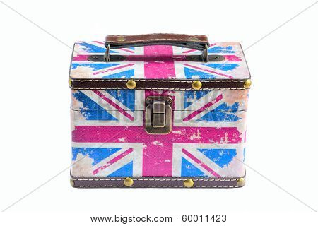 Old British Flag Box On White Background