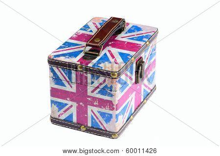 Old British Flag Box On White Background
