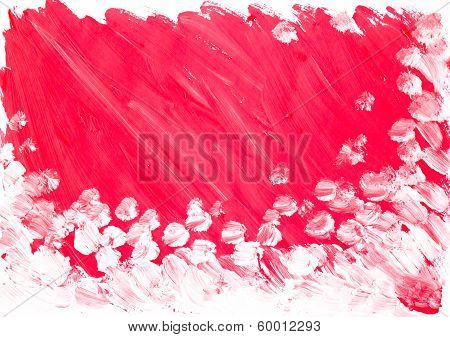 Abstract Red White Background Painted Watercolor