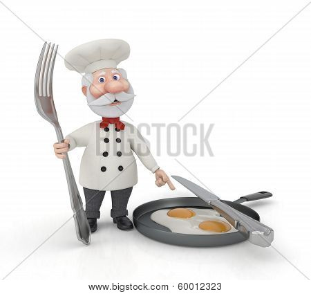 The 3D Cook With A Fork And Fried Eggs.