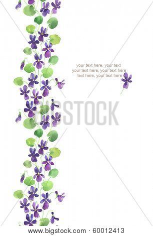 Watercolor vertical seamless pattern border with violet flowers