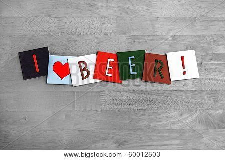 I Love Lager, Sign Series For Alcohol, Drinks And Lager.