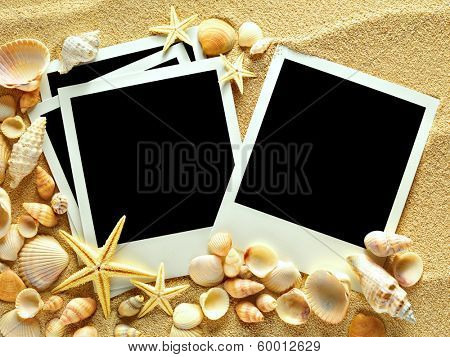 Vintage empty photo frames are lying on the sea sand decorated with seashells and starfish. Sunny summer trip concept.