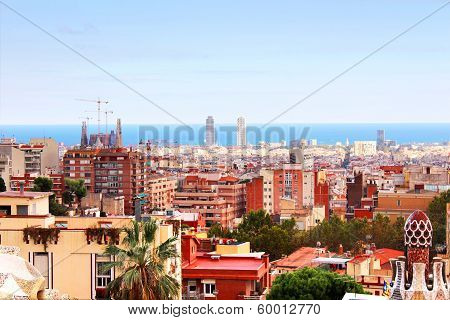 Panorama View Of Barcelona From Park Guell In Sunny Day. Spain