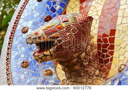 Sculpture With Tile Mosaic In The Park Guell In Barcelona, Spain