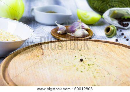 Closeup Cutting Board Spices
