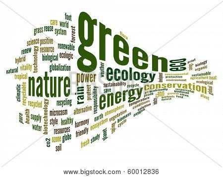 High resolution concept or conceptual 3D abstract green ecology and conservation word cloud text on white background