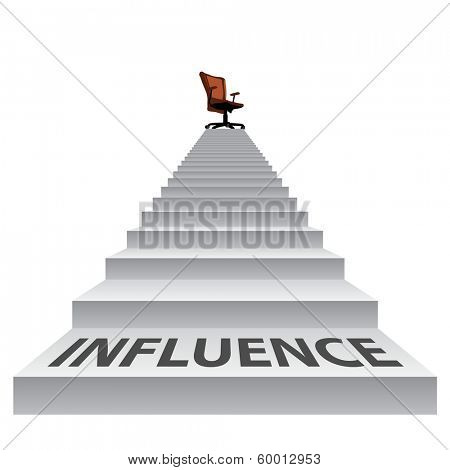 Concept conceptual 3d influence stair climbing to a leader,chief or promotion chair on top isolated white background