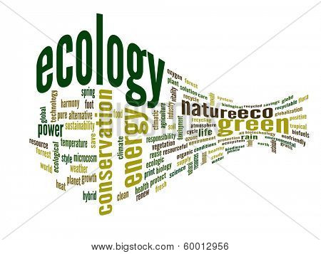 High resolution concept or conceptual abstract 3D green ecology and conservation word cloud text on white background