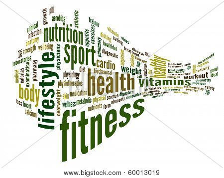 High resolution concept or conceptual abstract 3D fitness and health word cloud or wordcloud on white background