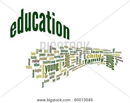 High resolution concept or conceptual 3D education abstract word cloud on white background