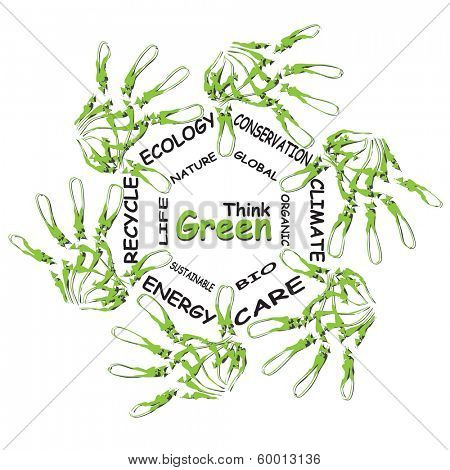 Concept or conceptual child green ecology word cloud hand print symbol of leafs,isolated on white background