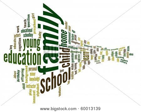 High resolution concept or conceptual 3D family and education abstract word cloud on white background