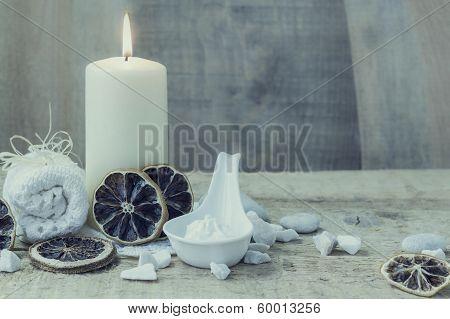 Spa Wellness Setting Candle Towel