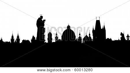 Prague towers silhouettes from Charles Bridge
