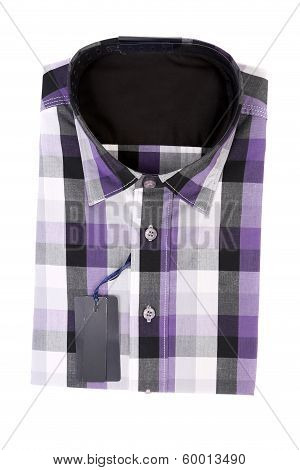 Bright multi-colored plaid shirt with a collar.