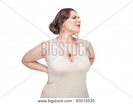 Plus Size Woman With Pain In Her Back