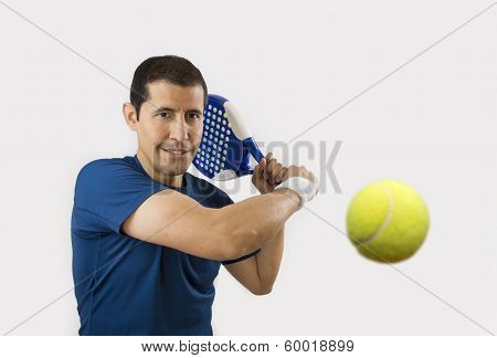 portrait of a young male paddle tennis player poster
