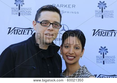 PALM SPRINGS, CA - JAN 5: Aron Gaudet, Gita Pullapilly at the 10 Directors to Watch brunch at The Parker Hotel on January 5, 2014 in Palm Springs, California