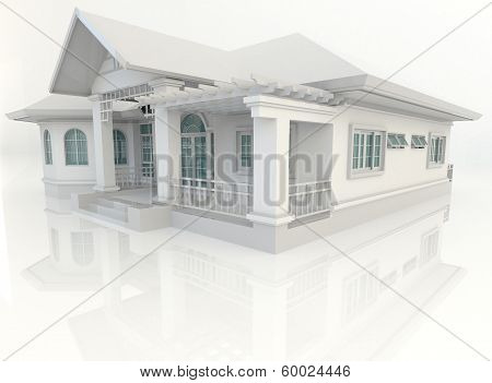 3D Vintage House Exterior Design With Refelction In White Background
