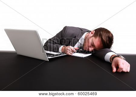 An exhausted businessman
